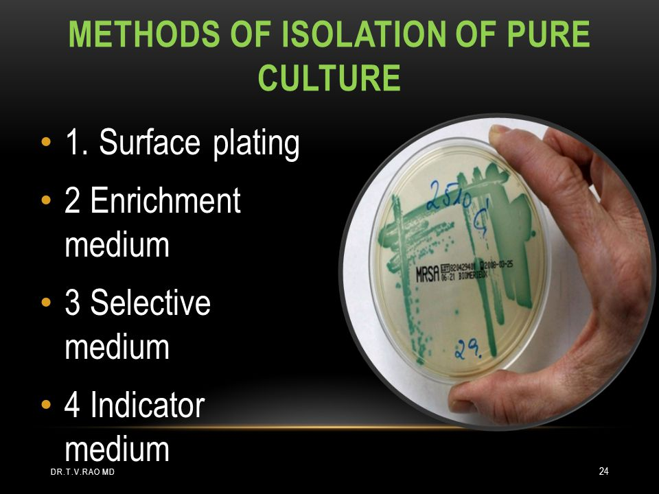 Methods of isolation of pure culture