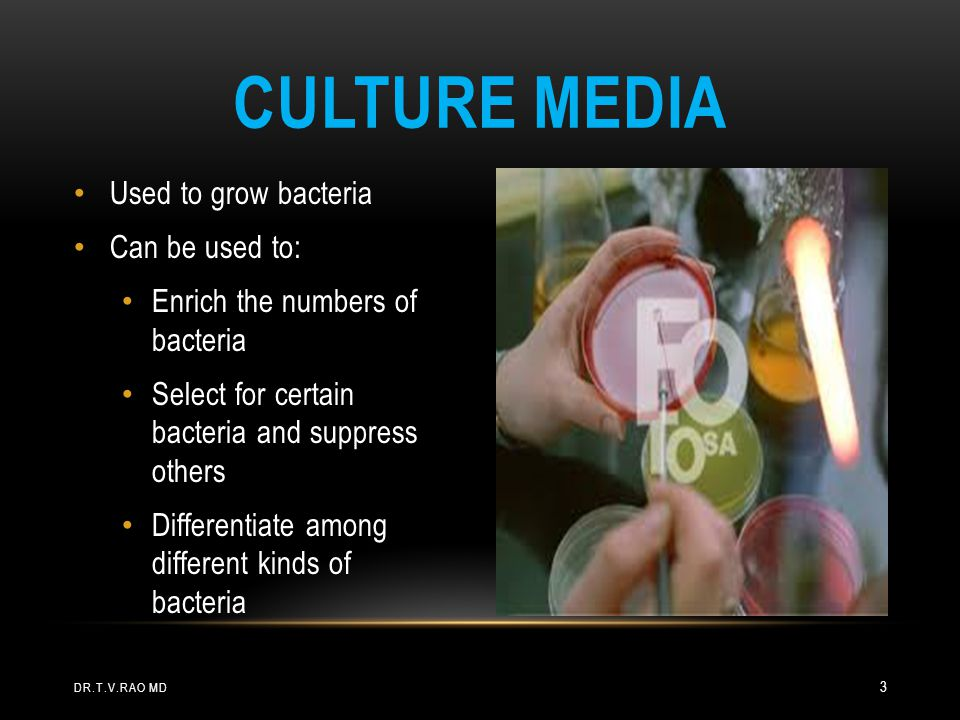 Culture media Used to grow bacteria Can be used to: