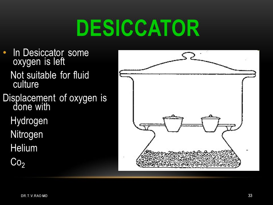 Desiccator In Desiccator some oxygen is left