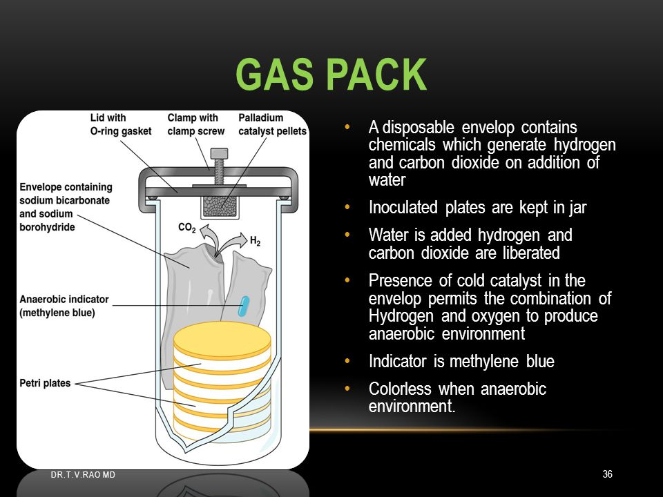 Gas pack A disposable envelop contains chemicals which generate hydrogen and carbon dioxide on addition of water.
