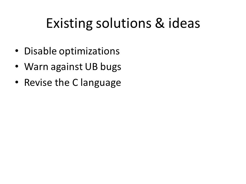 Existing solutions & ideas