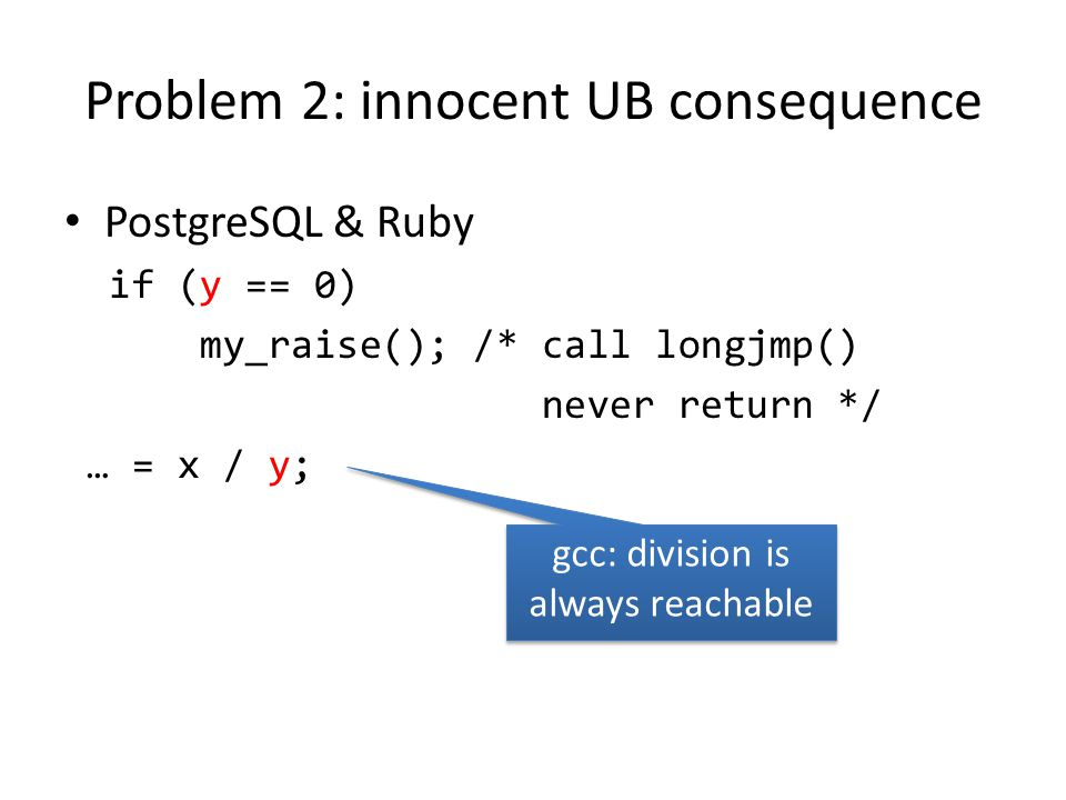 Problem 2: innocent UB consequence