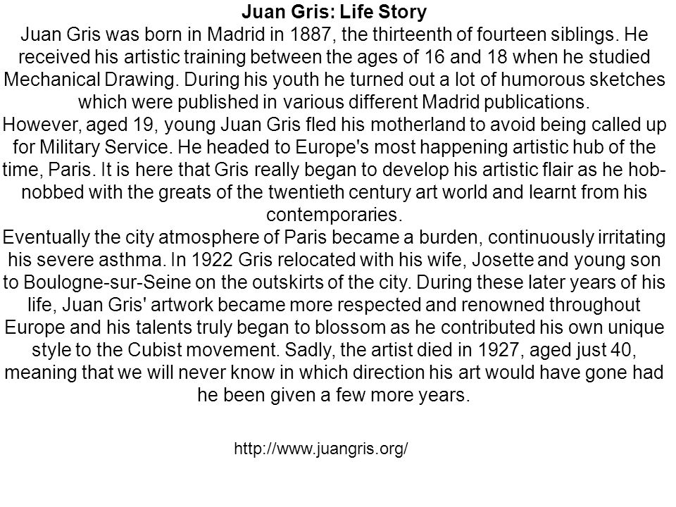 Juan Gris: Life Story