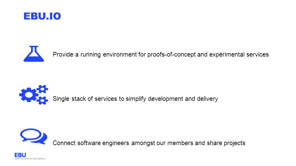 EBU.io Provide a running environment for proofs-of-concept and expérimental services. Single stack of services to simplify development and delivery.