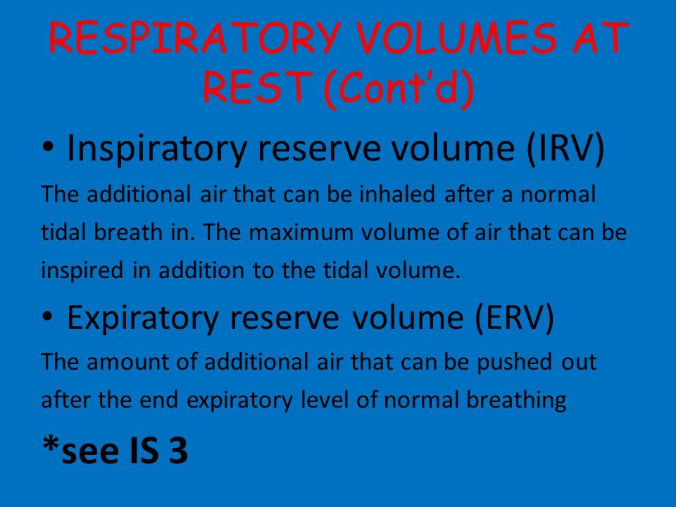 RESPIRATORY VOLUMES AT REST (Cont'd)
