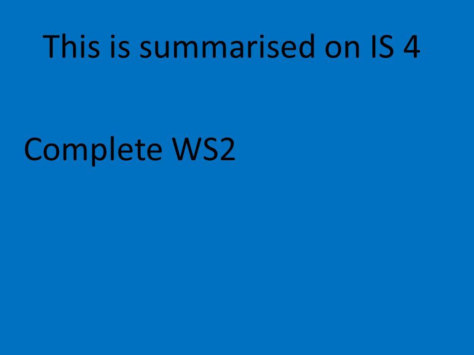 This is summarised on IS 4 Complete WS2