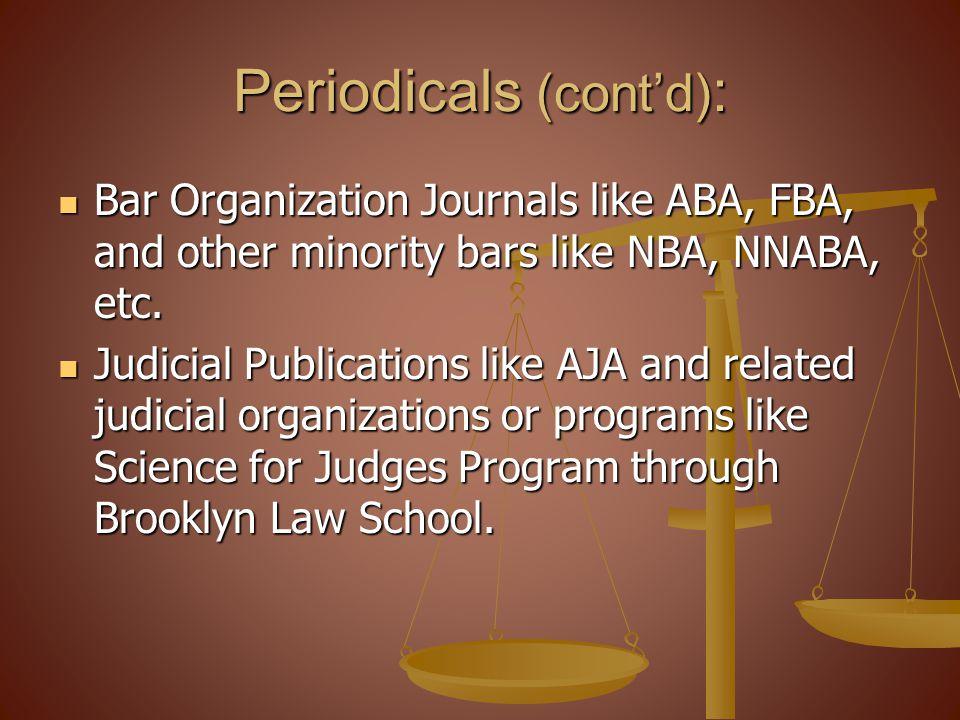 Periodicals (cont'd):