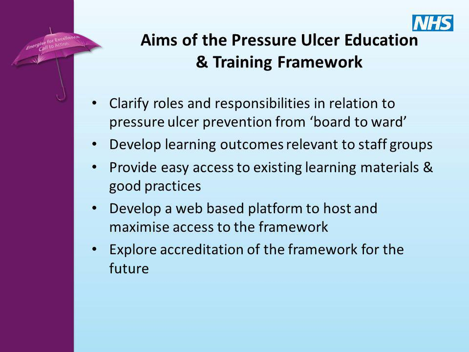 Aims of the Pressure Ulcer Education & Training Framework