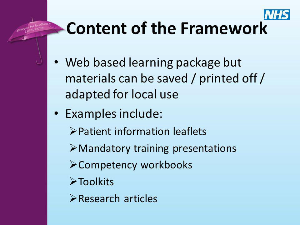 Content of the Framework