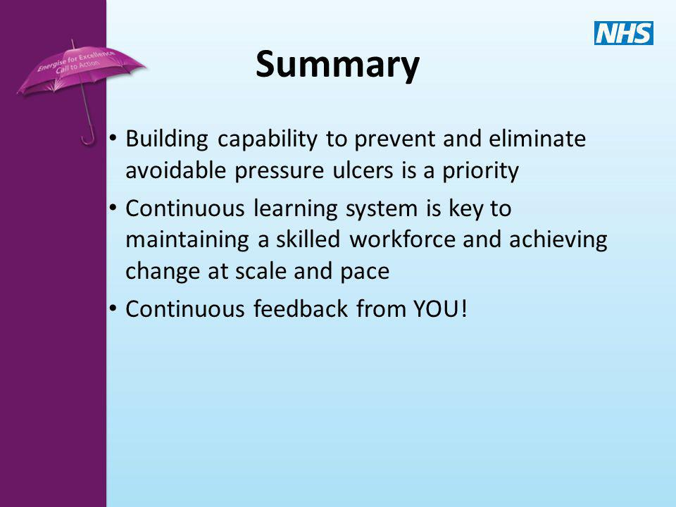 Summary Building capability to prevent and eliminate avoidable pressure ulcers is a priority.