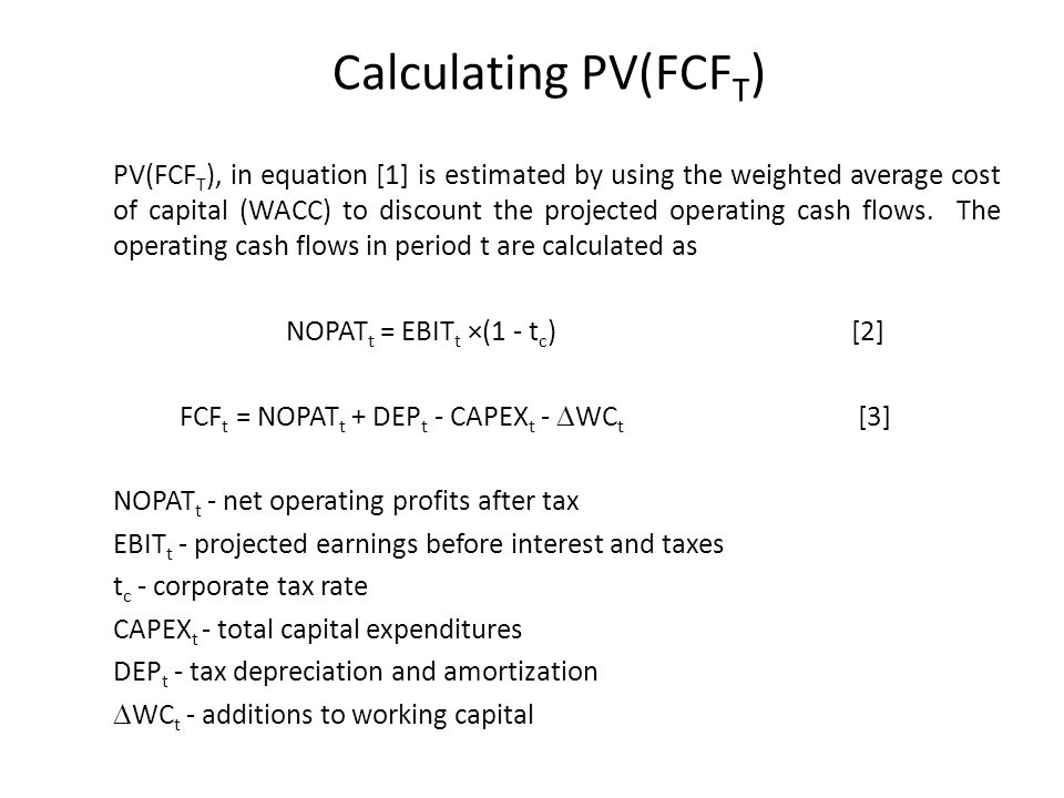 Calculating PV(FCFT)