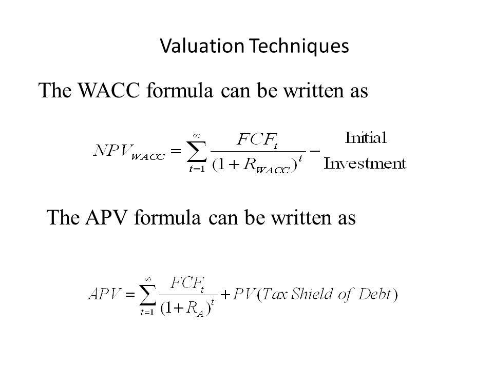 Valuation Techniques The WACC formula can be written as The APV formula can be written as