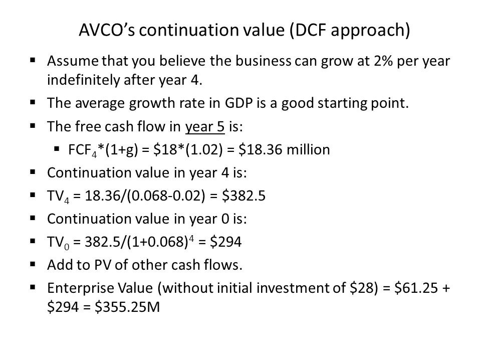 AVCO's continuation value (DCF approach)