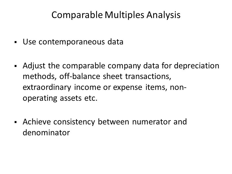 Comparable Multiples Analysis