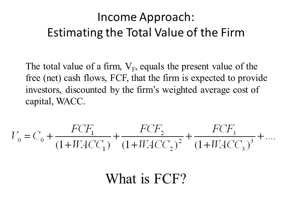 Income Approach: Estimating the Total Value of the Firm