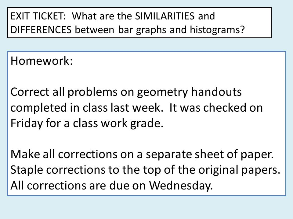 Correct all problems on geometry handouts