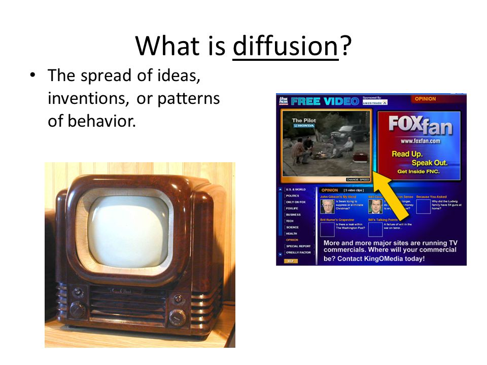 What is diffusion The spread of ideas, inventions, or patterns of behavior.
