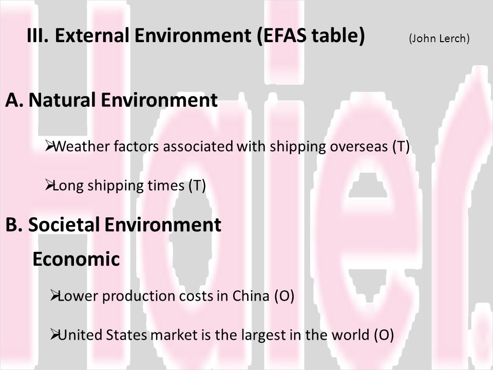III. External Environment (EFAS table) (John Lerch)