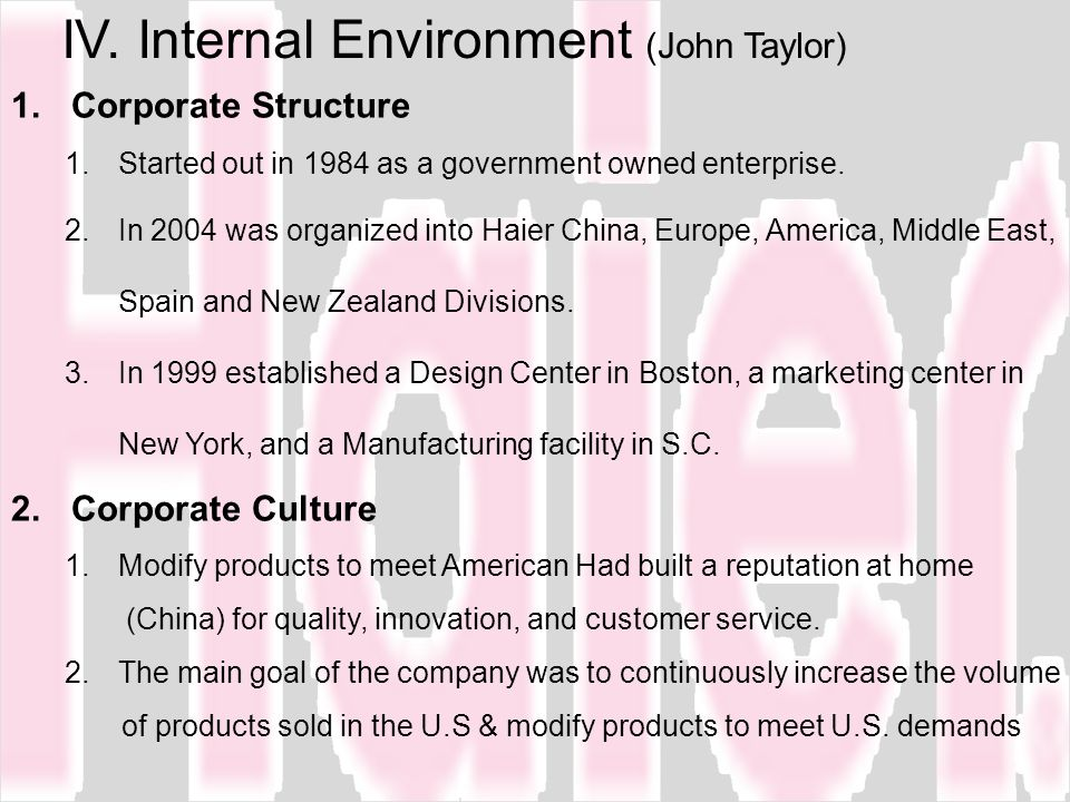 IV. Internal Environment (John Taylor)