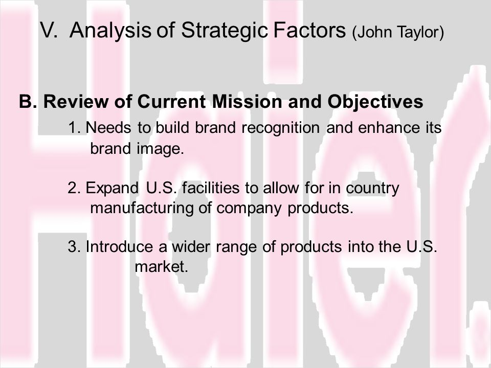 V. Analysis of Strategic Factors (John Taylor)