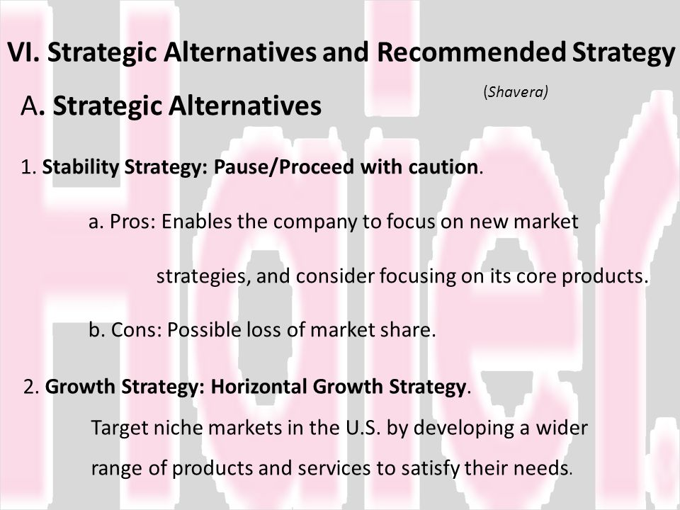 VI. Strategic Alternatives and Recommended Strategy (Shavera)