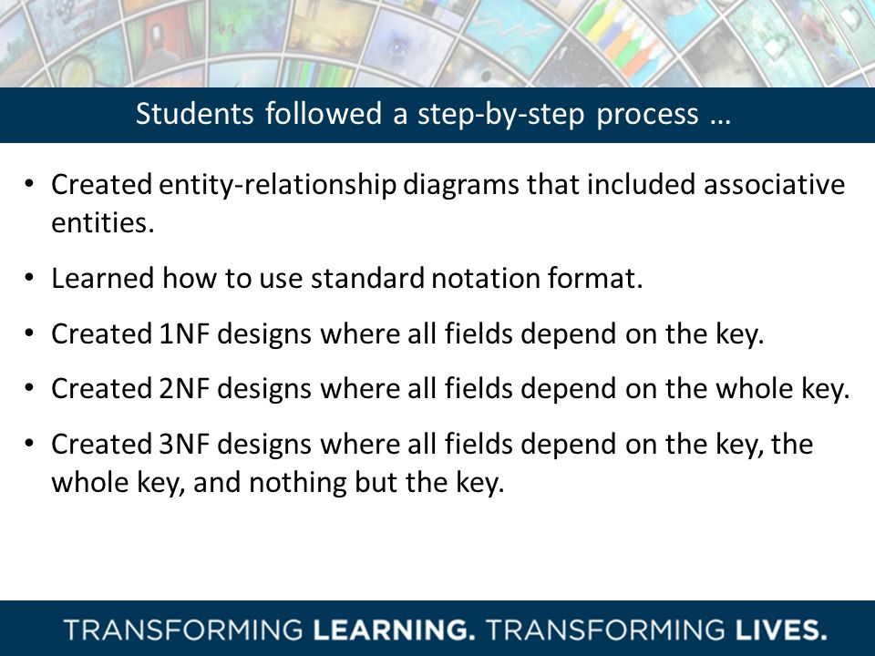 Students followed a step-by-step process …