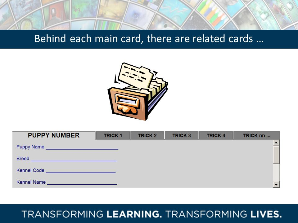Behind each main card, there are related cards …