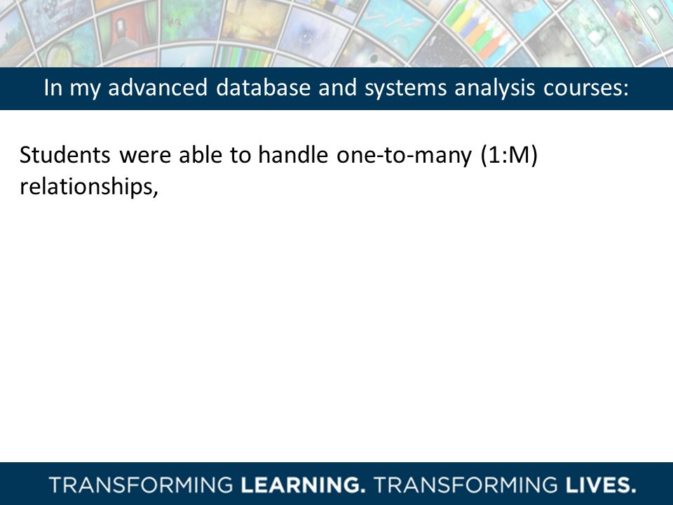 In my advanced database and systems analysis courses: