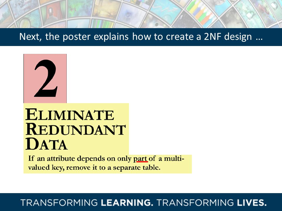 Next, the poster explains how to create a 2NF design …