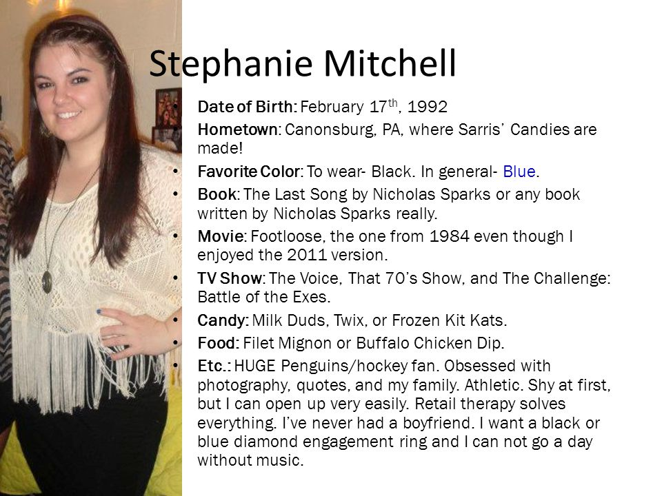 Stephanie Mitchell Date of Birth: February 17th, 1992