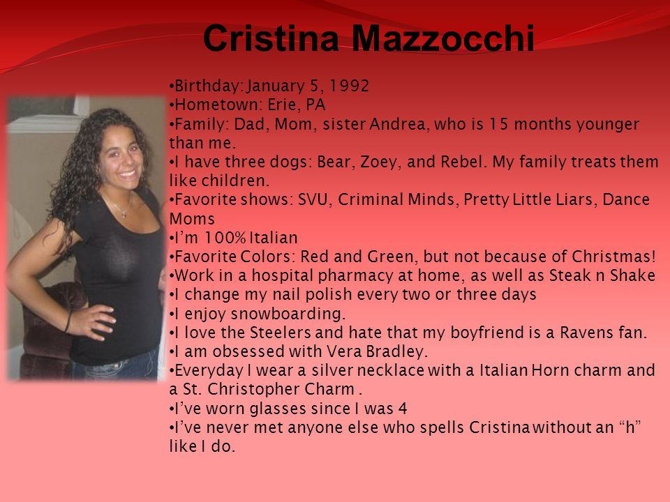 Cristina Mazzocchi Birthday: January 5, 1992 Hometown: Erie, PA
