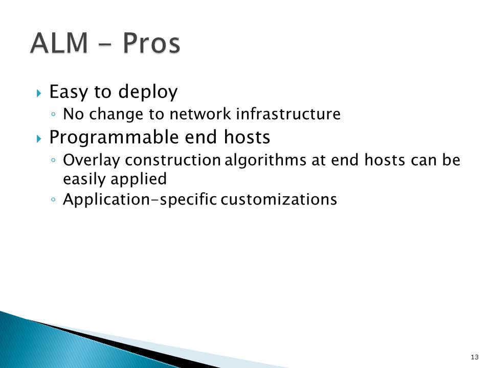 ALM - Pros Easy to deploy Programmable end hosts