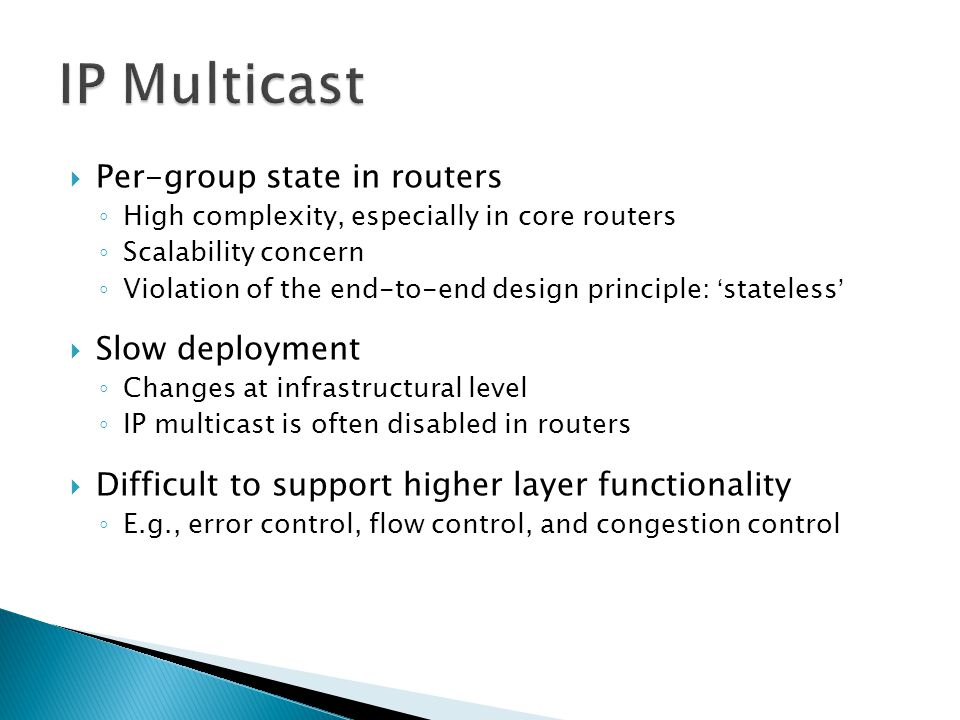 IP Multicast Per-group state in routers Slow deployment