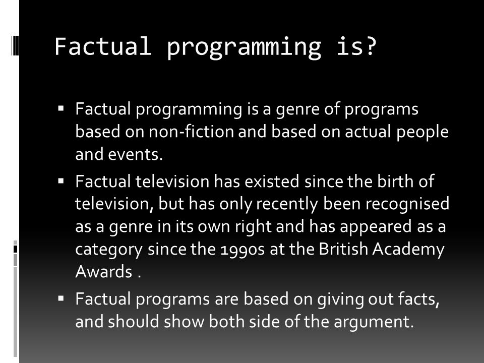 Factual programming is