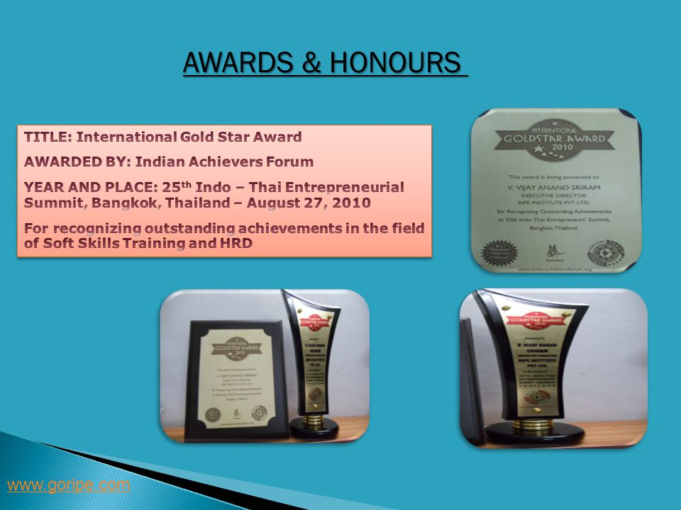 Awards & Honours www.goripe.com TITLE: International Gold Star Award