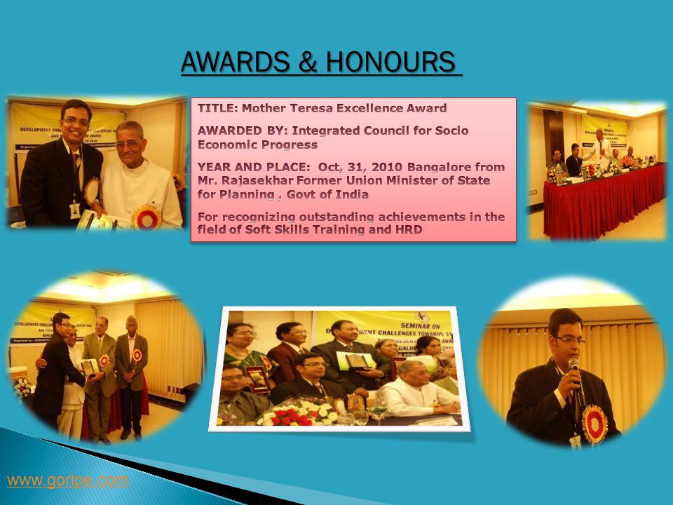 Awards & Honours www.goripe.com TITLE: Mother Teresa Excellence Award