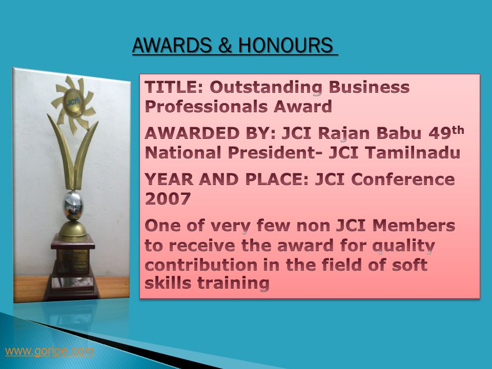 Awards & Honours TITLE: Outstanding Business Professionals Award