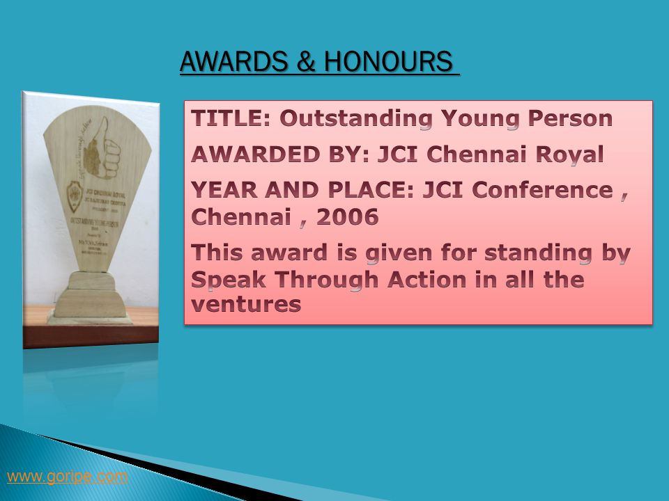 Awards & Honours TITLE: Outstanding Young Person