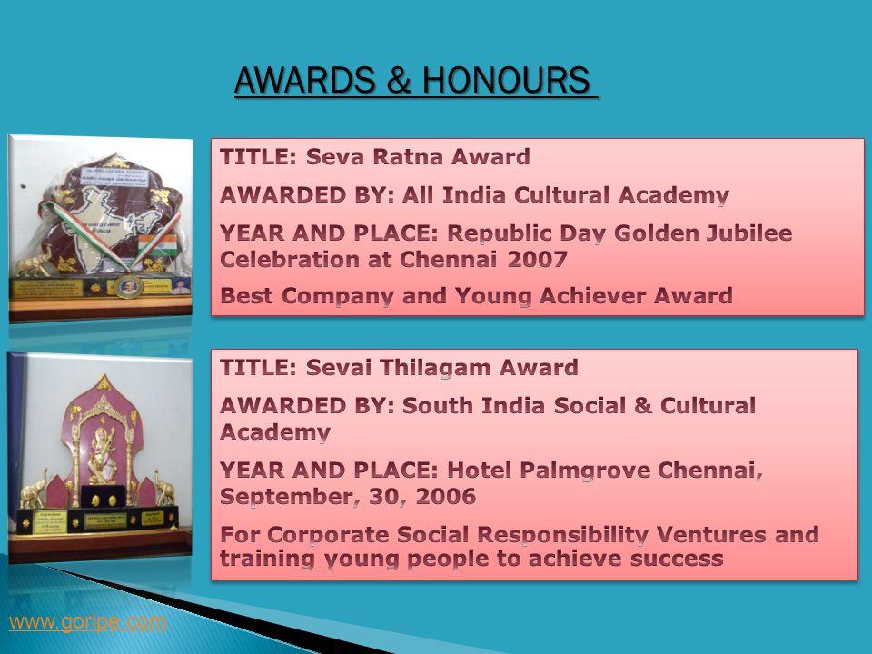 Awards & Honours TITLE: Seva Ratna Award