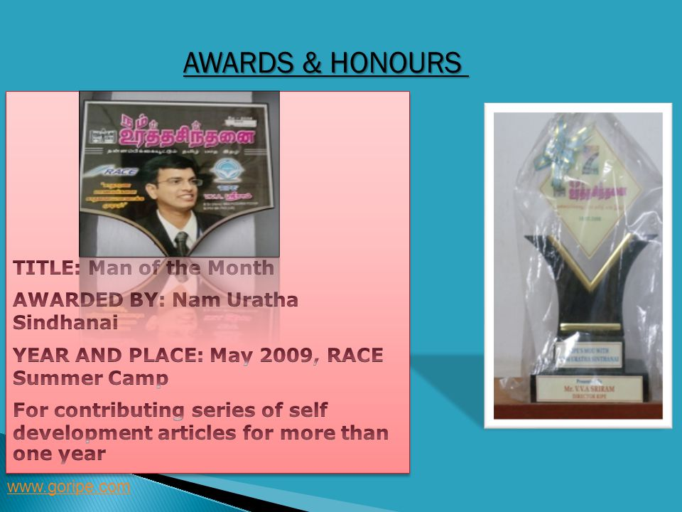 Awards & Honours TITLE: Man of the Month