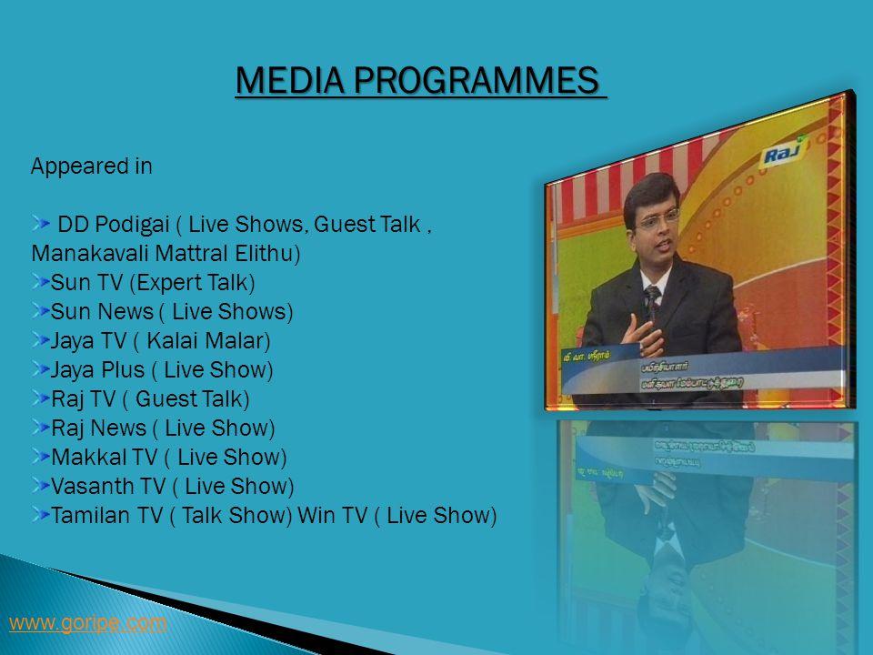 MEDIA PROGRAMMES Appeared in