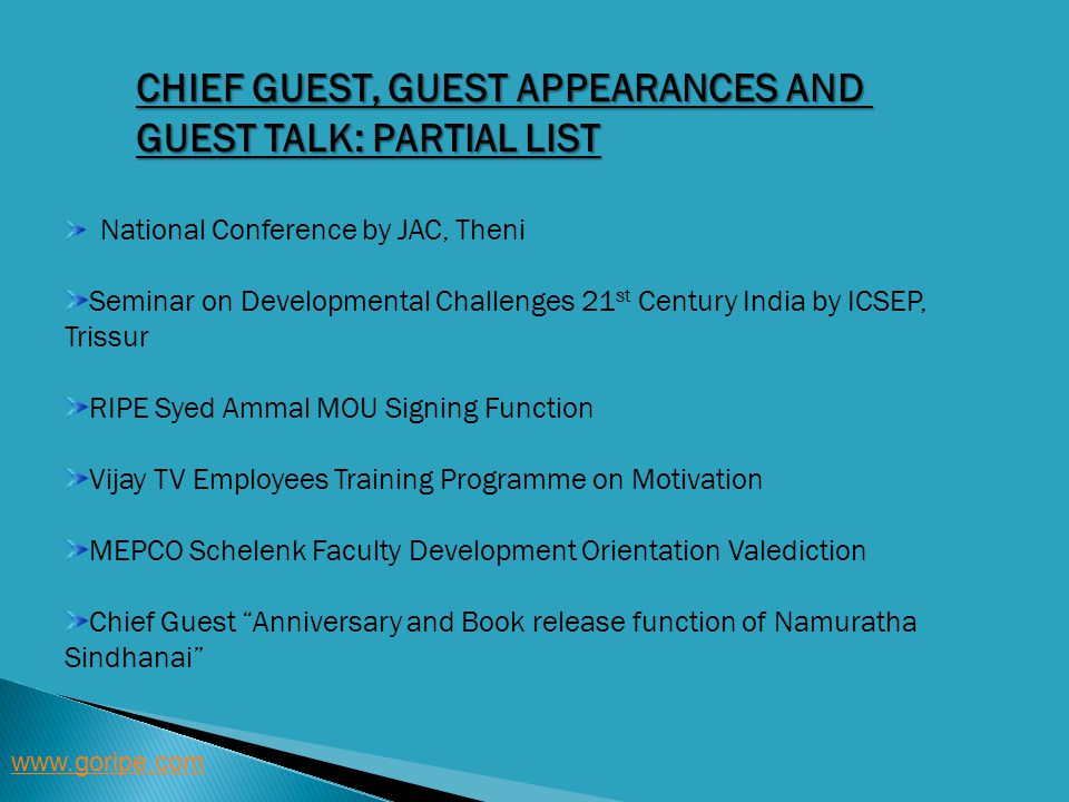 Chief Guest, Guest Appearances and Guest Talk: Partial List