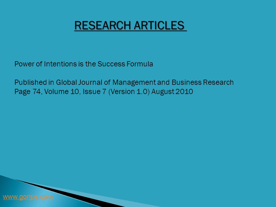 Research articles Power of Intentions is the Success Formula