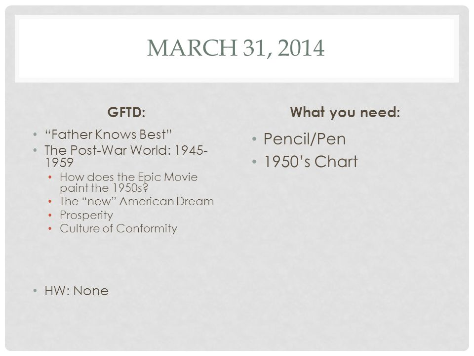 March 31, 2014 Pencil/Pen 1950's Chart GFTD: What you need: