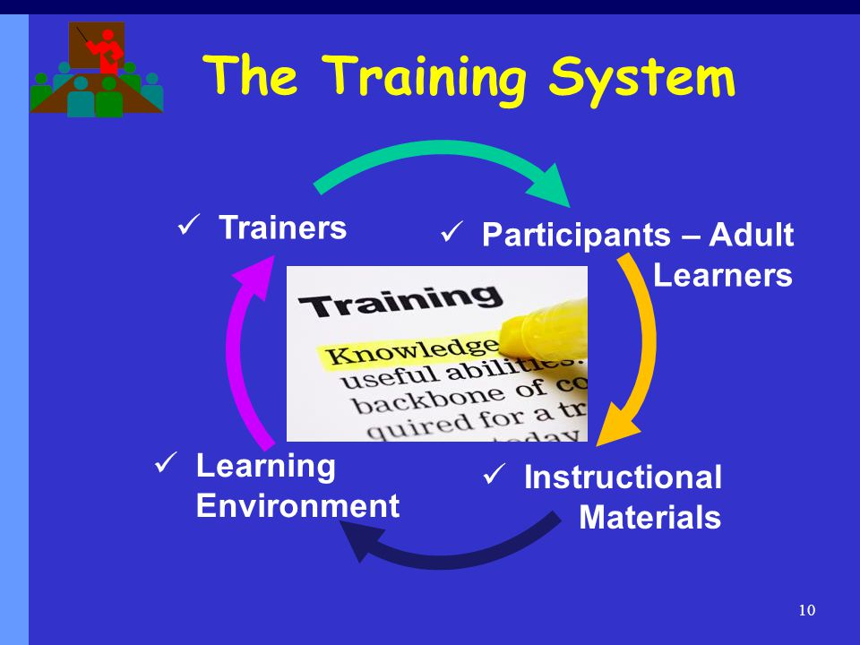 The Training System Trainers Participants – Adult Learners