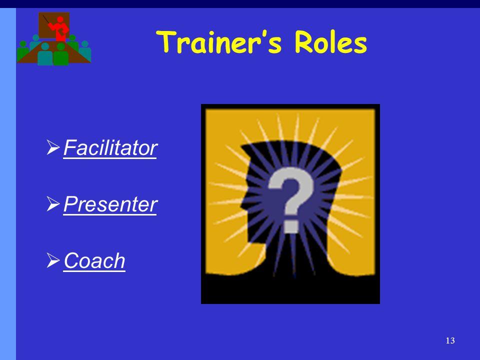 Trainer's Roles Facilitator Presenter Coach