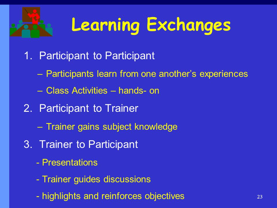 Learning Exchanges Participant to Participant Participant to Trainer