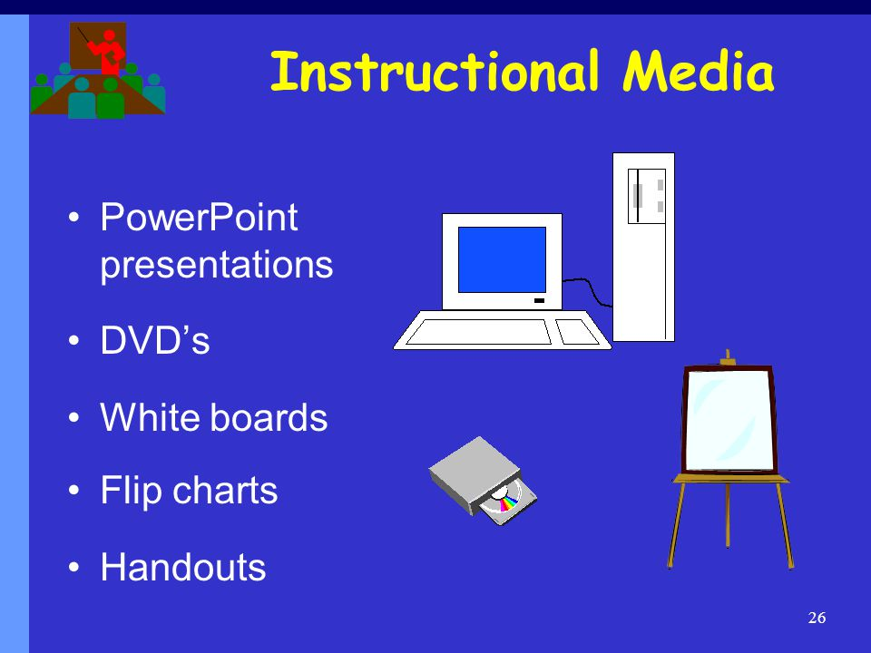 Instructional Media PowerPoint presentations DVD's White boards