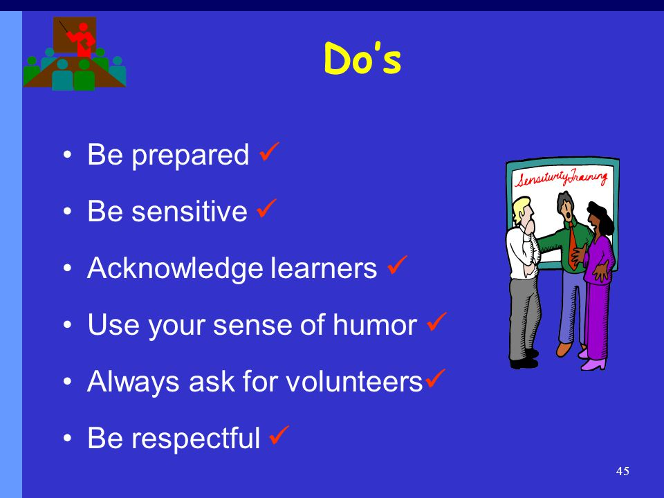 Do's Be prepared  Be sensitive  Acknowledge learners 