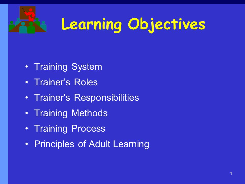 Learning Objectives Training System Trainer's Roles